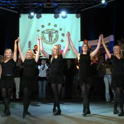 Professional Irish dancers on stage at a Creative Events Interactive Irish Ceili