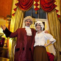 Two actors in character at at Creative Events Murder Mystery Show