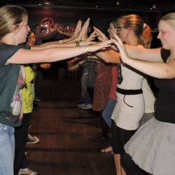 A group learning the Bridge of Athlone at a Creative Events Interactive Irish Ceili