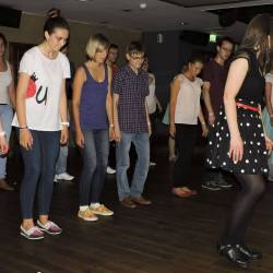 People learning dancing steps at a Creative Events Interactive Irish Ceili