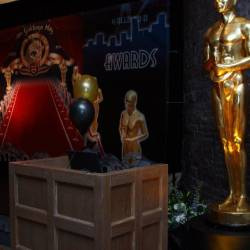 Entrance to the venue which has a MGM backdrop and large scale Oscar awards , organised by Creative Events