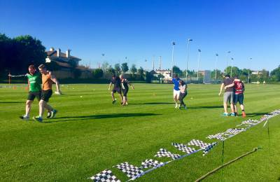 Teams relay racing at a Creative Events Old School Sports Day