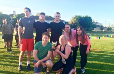 A winning team photo at a Creative Events Old School Sports Day
