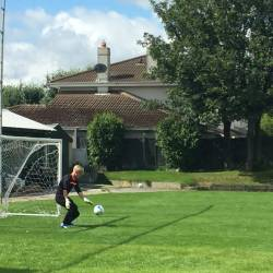 A person standing in goal at a Creative Events Old School Sports Day
