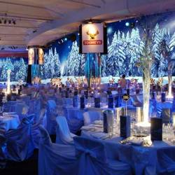 A stage decorated with white trees and snow at a Creative Events Winter Wonderland event