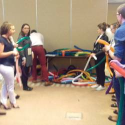 People balloon modelling as part of a Creative Events Company Challenge