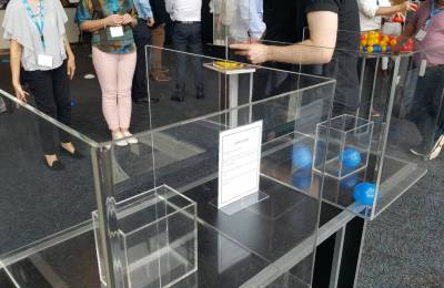 Perspex cube games at a Creative Events Cube Challenge