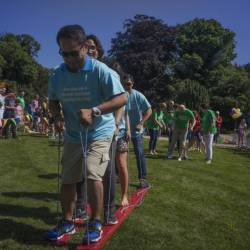 Teams compete in a landski competition at a Creative Events Summer Family Fun Day