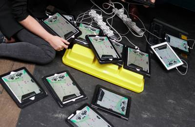 iPads being charged and set up for a Creative Events iPad Event