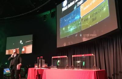 Screen on stage at Creative Events Cube Gameshow