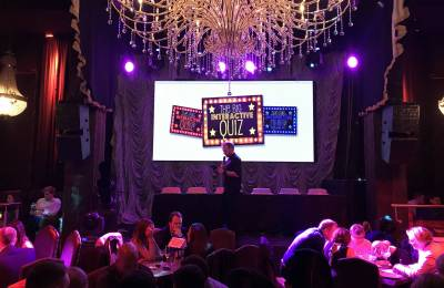 Stage with screen at a Creative Events Big Interactive Quiz event