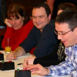 Teams using buzzers to answer questions at a Creative Events Big Interactive Quiz event