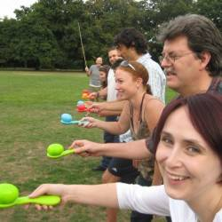 A team gets ready for an egg and spoon race at a Creative Events Corporate summer sports day