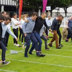 A three legged race starts at a Creative Events Corporate summer sports day