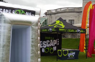 A Mobile Escape Room tent and gazebo at a Creative Events event