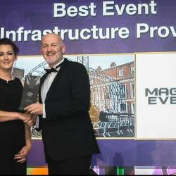 Our owner Mark presenting an award at the 10th Annual Event Industry Awards