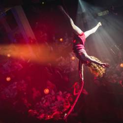 An ariel artist in the air at the 10th annual Event Industry Awards