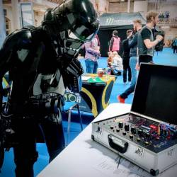 A Star Wars character looking at the Mobile Escape Room detonator at the Dublin Games Festival 2018