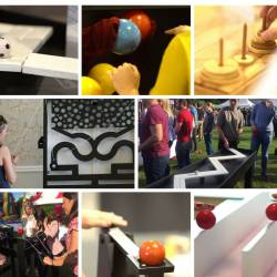 A collage of games available at a Creative Events corporate team building event
